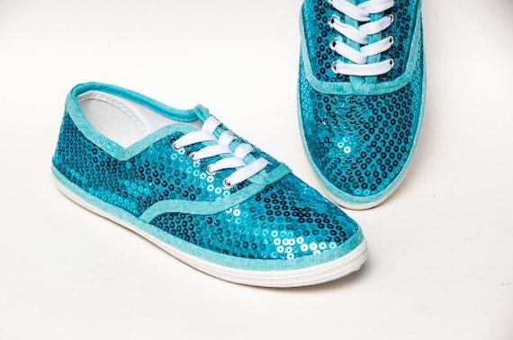 Malibu Blue Sequin Sneakers | Etsy
