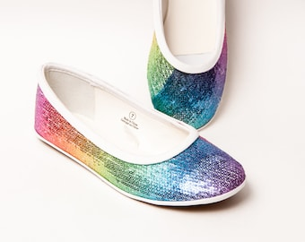 Sequin - Rainbow Patterned Ballet Flats Slippers Casual Dress Shoes