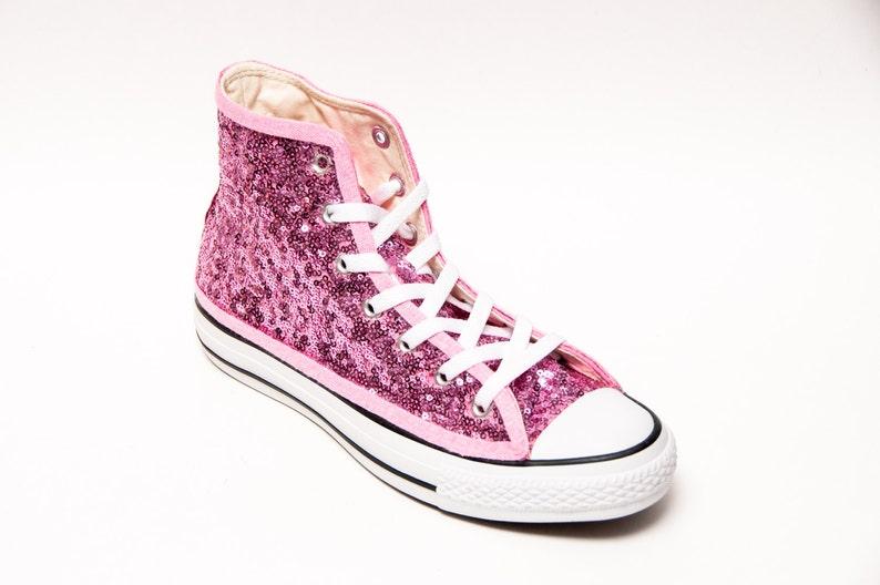 55571de6bc72 Blush Pink Starlight Sequin Converse® Hi Top Sneakers
