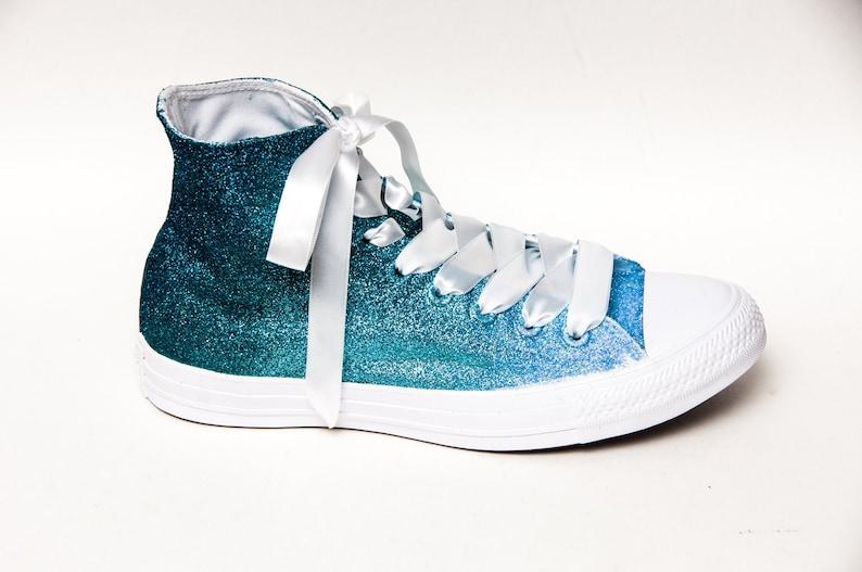 Pavone a bambino blu quattro tono ombre glitter converse® High WVTW4G8z