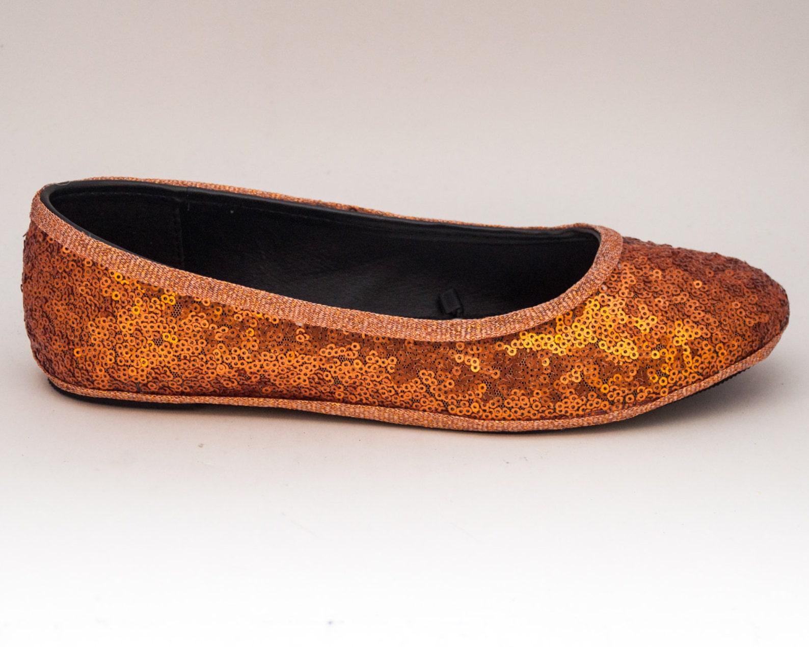 tiny sequin | starlight orange ballet flats slippers shoes