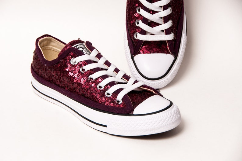 eaec863148b4 Burgundy Red Starlight Sequin Converse® Low Top Sneakers