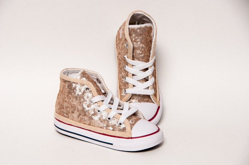 efc1807d9077 Sequin Toddler Champagne Gold Canvas Hi Top Sneakers Shoes