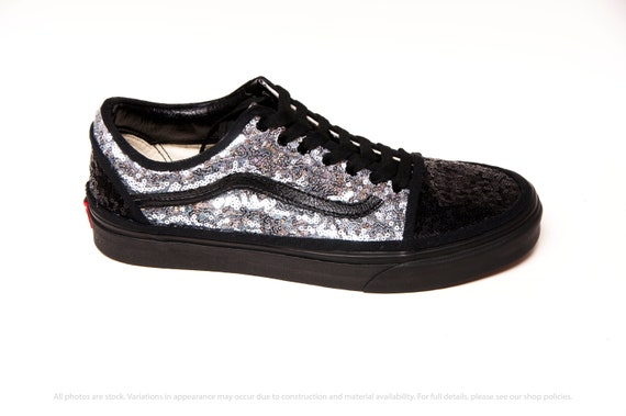 Schwarz & Silber Starlight Pailletten Vans Alte Skool Sneakers