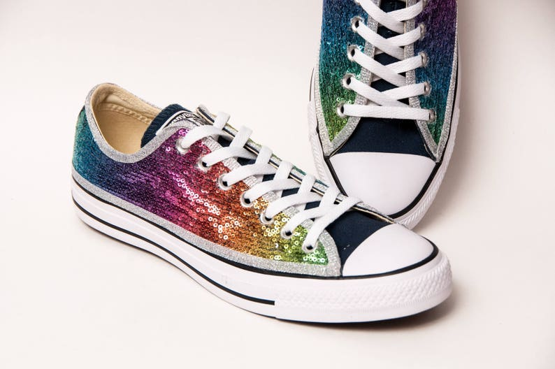 77f4357e90b Navy Rainbow Starlight Sequin Multi Color Converse® Low Top
