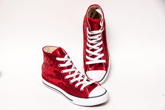5c597b68c7af69 Youth - Starlight Tiny Sequin Red Customized Converse® Canvas Hi Tops  Sneakers Tennis Shoes