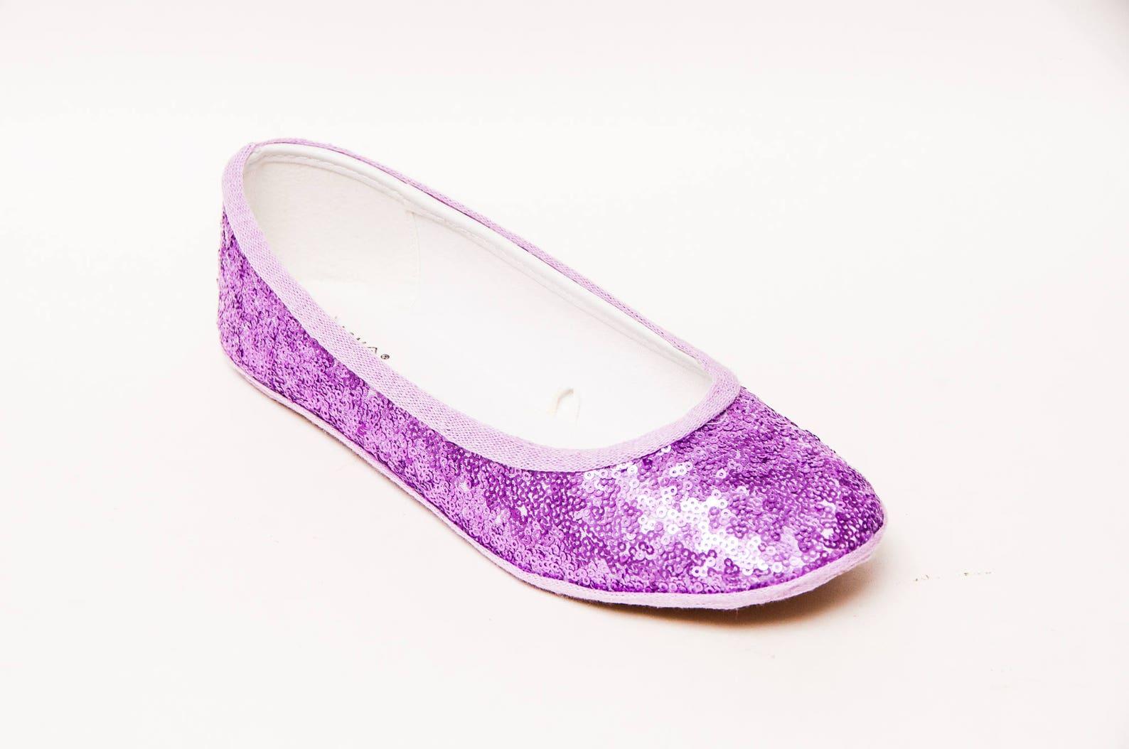 sequin - lilac purple slipper ballet flats custom shoes