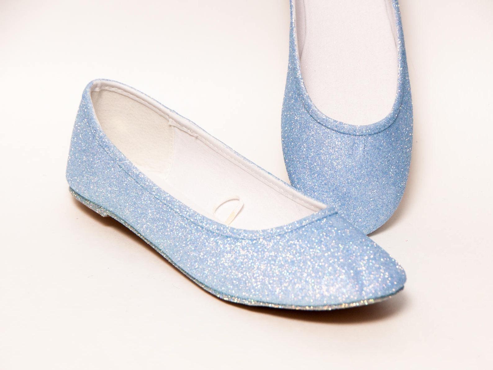 baby blue glitter ballet flats