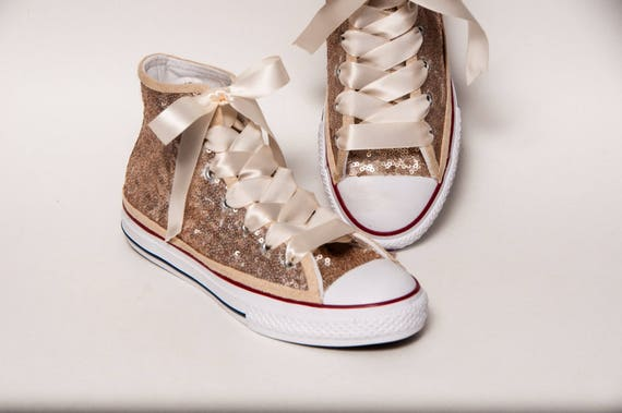 Kids - Youth - Champagne Gold Sequin Converse® Canvas Hi Tops Sneakers  Tennis Shoes with Satin Ribbon Laces 7f7780f8b