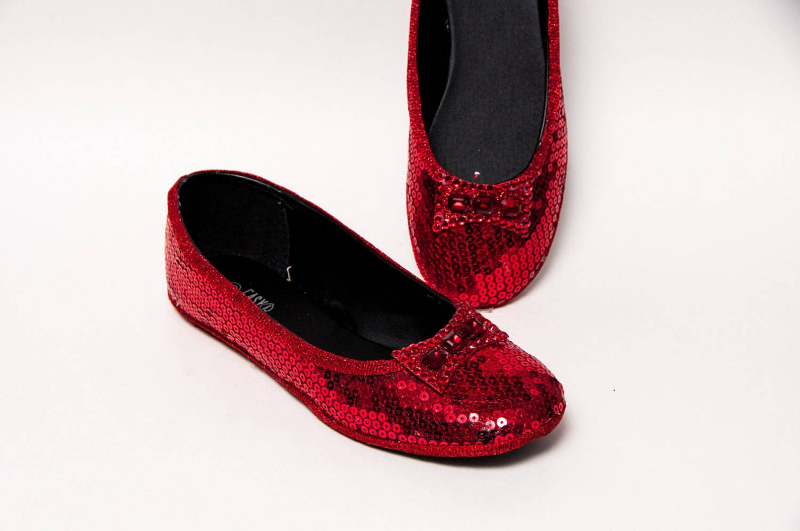 bridal - sequin red ballet slippers flats shoes with red crystal rhinestone bows