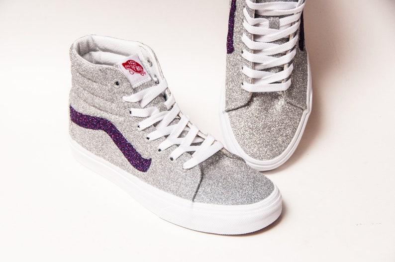 d92a5fd0e238 Glitter Silver SK8 Hi Top Vans Canvas Sneakers Shoes
