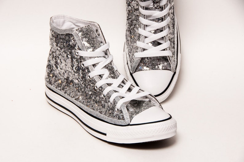 d89d7bc94083 Silver Starlight Sequin Converse® Canvas Hi Top Sneakers