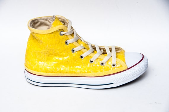 Yellow Sequin Converse Sneakers | Etsy