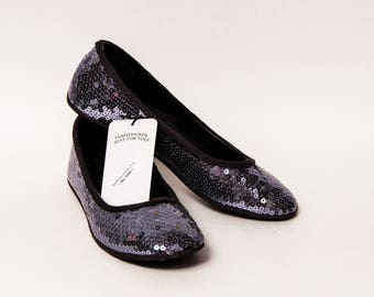 Ready to Ship - Size 9 Sequin Custom Platinum Gray Ballet Flats Slippers Shoes