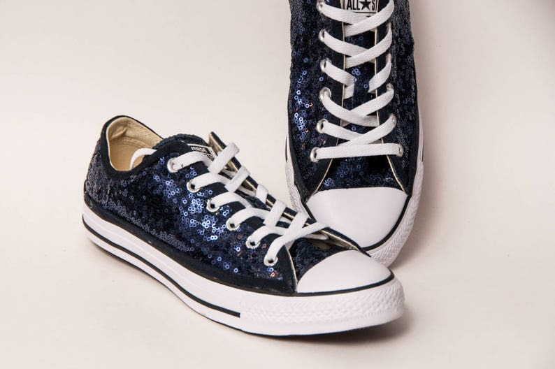fe9d10a8e702 Navy Blue Sequin Converse® Low Tops