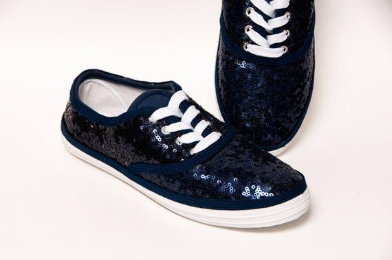 navy blue glitter tennis shoes
