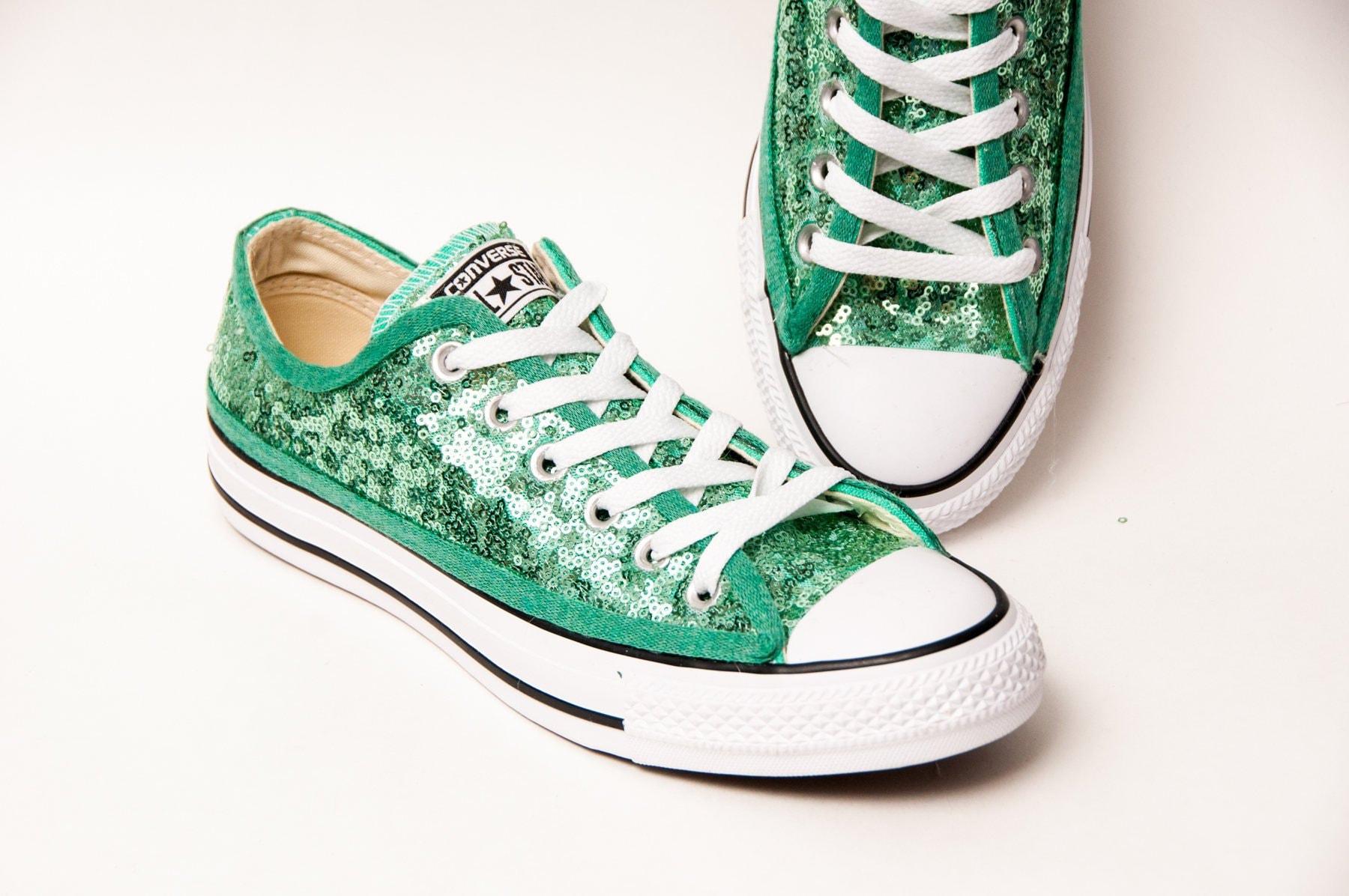 e6f9ec00dbd7 Mint Green Starlight Sequin Converse® Low Top Sneakers