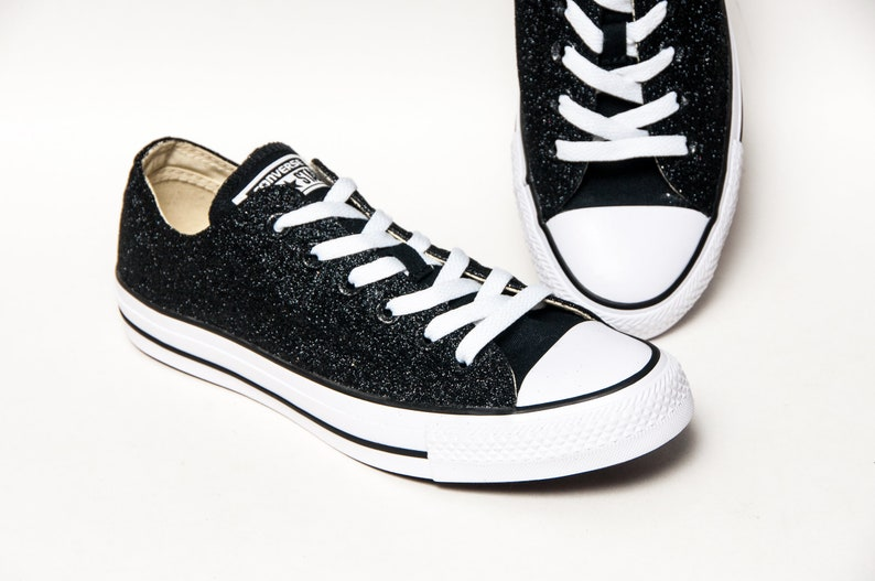 59571af6024061 Obsidian Black Glitter Converse® Low Top Sneakers