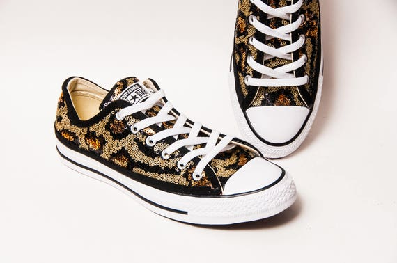 bbedfa0a759f Leopard Print Gold and Black Sequin Converse® Low Top Sneakers