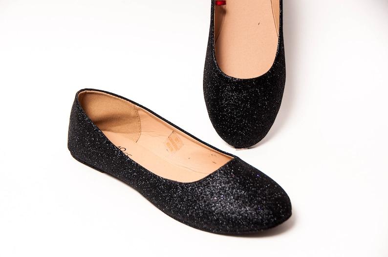 b7db513cebd Black Glitter Ballet Flats