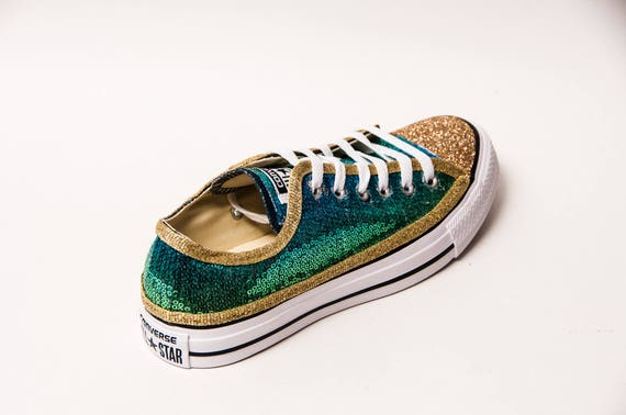 3c4c8835c985 Ombre Tropical Gold Sequin Canvas Converse® Low Tops Sneakers