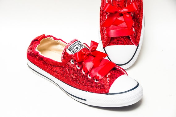 Tiny Sequin - Starlight Red Sparkly Canvas Shoreline Converse® Slip On Sneakers  Shoes with Satin Ribbon Laces b97308233