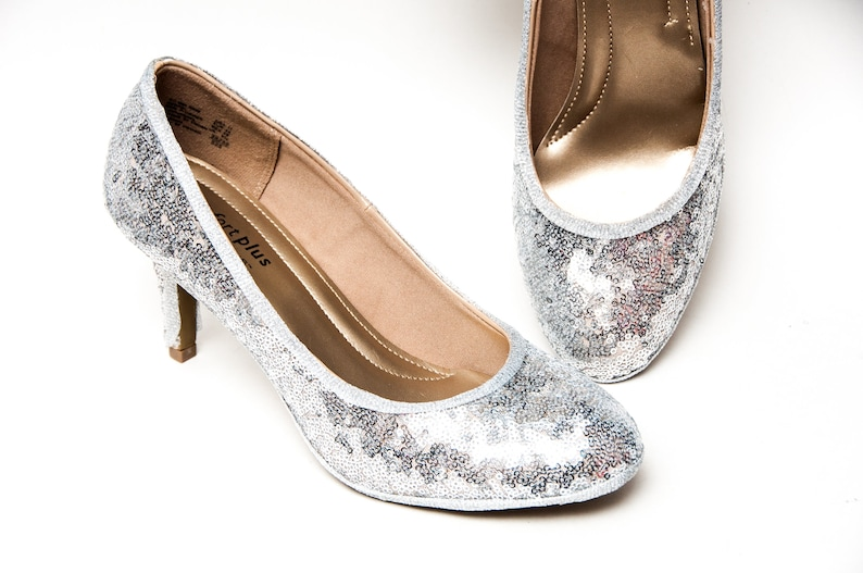 5b99282153863 Tiny Sequin - Starlight Silver High Heel Pumps Sparkly Shoes by Princess  Pumps