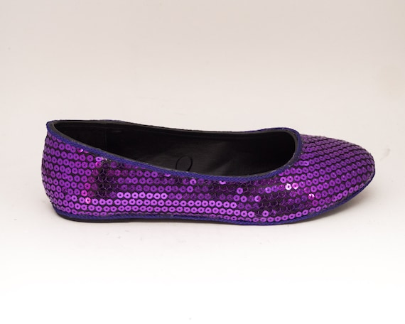 35ed1427a263 Sequin Grape Purple Slipper Ballet Flats Sparkle Shoes | Etsy