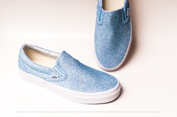 beste deals voor discountwinkel aliexpress Ice Blue Glitter Vans Slip On Classic Sneakers