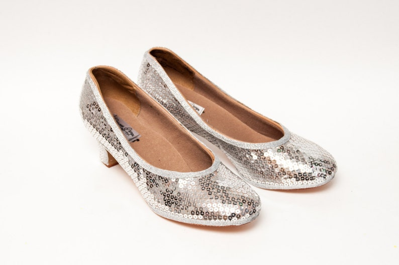 57a51c78e90 Sequin Cinderella Sparkly Sterling Silver Kitten Heel Pumps