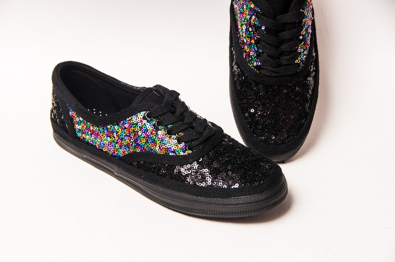 1040445b10668 Sequin - Saddle Shoe - CVO Rainbow Multi Color Over Black Speckled Canvas  Sneakers Shoes