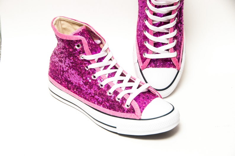 1a570ff1f906 Hot Fuchsia Pink Starlight Sequin Converse® High Tops | Etsy