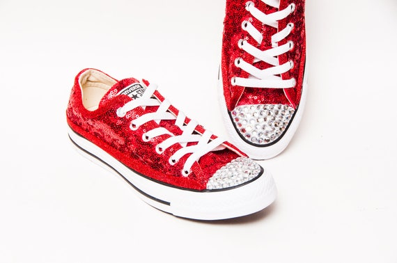 3f3ea6bd2a5 Tiny Sequin Red Canvas Converse® Low Top Sneakers Tennis