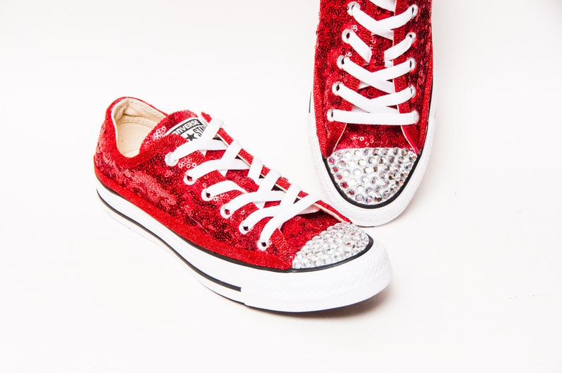 a23baf79afe7 Tiny Sequin Red Canvas Converse® Low Top Sneakers Tennis