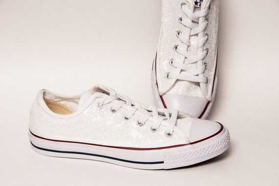 0c73e75ed166 Tiny Sequin - Starlight Perfectly White Converse® All Star Hi Top Canvas  Sneakers Shoes by Princess Pumps