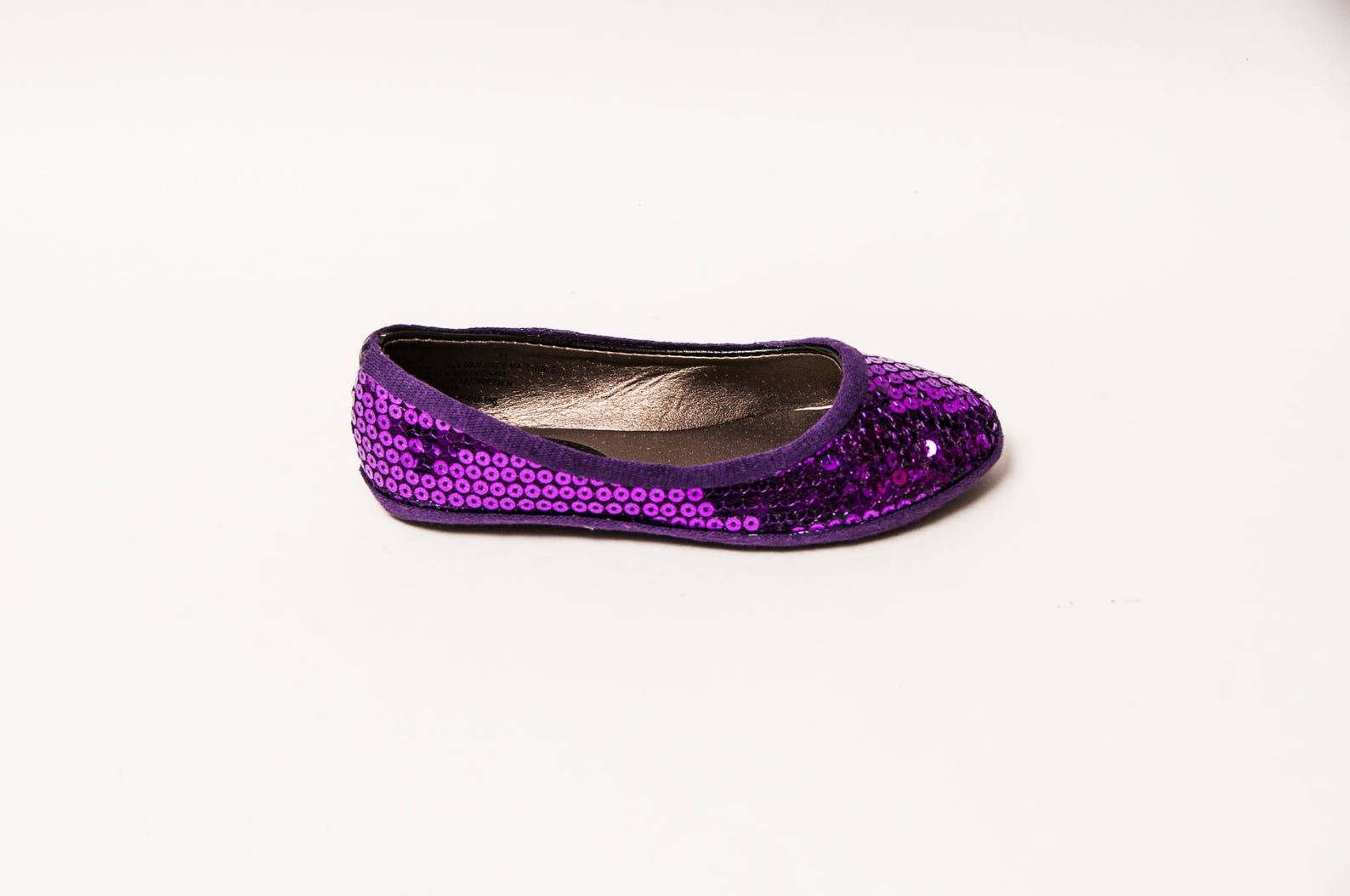 youth - sequin - purple ballet flat dress shoes