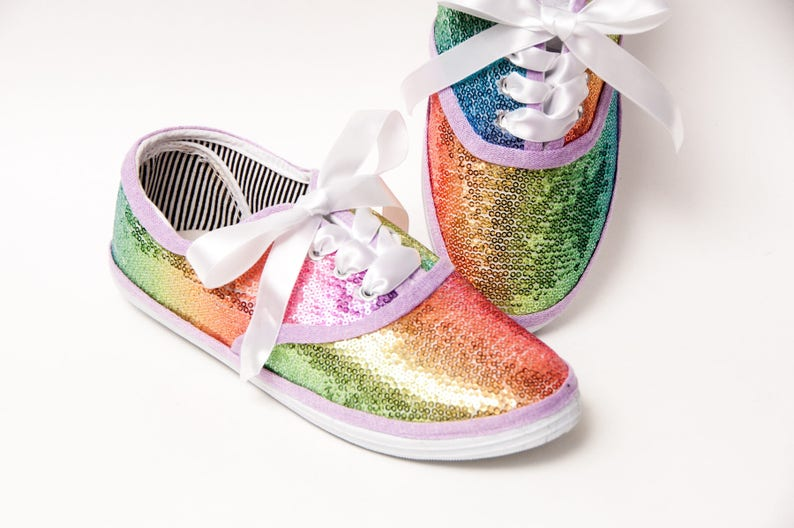 38b53c36804b5 Sequin - Starlight Rainbow CVO Multi Color Canvas Sneakers Shoes with Satin  Ribbon Laces