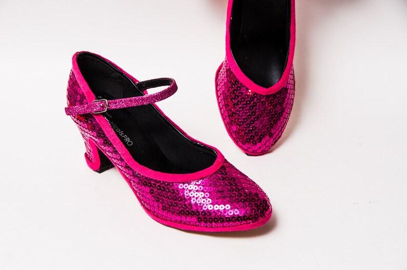 234b7edbfe Sequin Hot Fuchsia Pink Character High Heels Pumps Shoes | Etsy