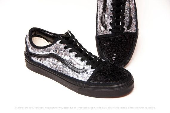 Noir Silver Starlight Sequin Vans Old Skool Sneakers