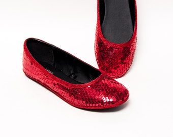 Sequin - Red Ballet Flats Slippers Shoes by Princess Pumps