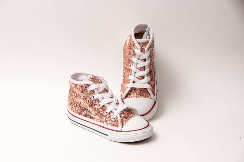 e74b11caf6d582 Sequin Toddler Converse® Rose Gold Canvas Hi Top Sneakers