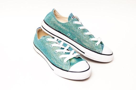 Jugend Glitter Mittelmeer blau Converse® Low Top Sneakers