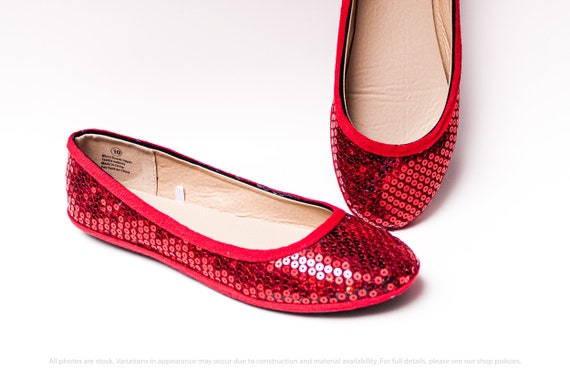 Red Sequin Ballet Flats | Etsy