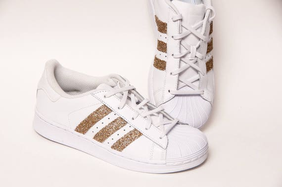 Glitzer Gold Adidas Superstars II Fashion Sneakers Schuhe