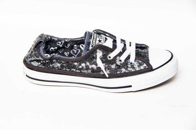 f3bb835654ba Tiny Sequin Steel Gray Sparkly Canvas Shoreline Converse®