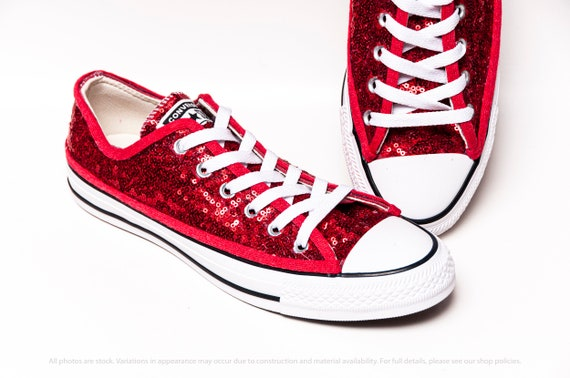 Red Starlight Sequin Converse® Low Tops With SilverCrystal Options