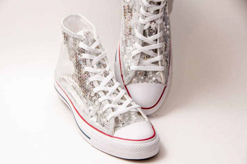 2cd9597b1573 Silver Sequin Converse® Canvas Hi Top Sneaker Tennis Shoes