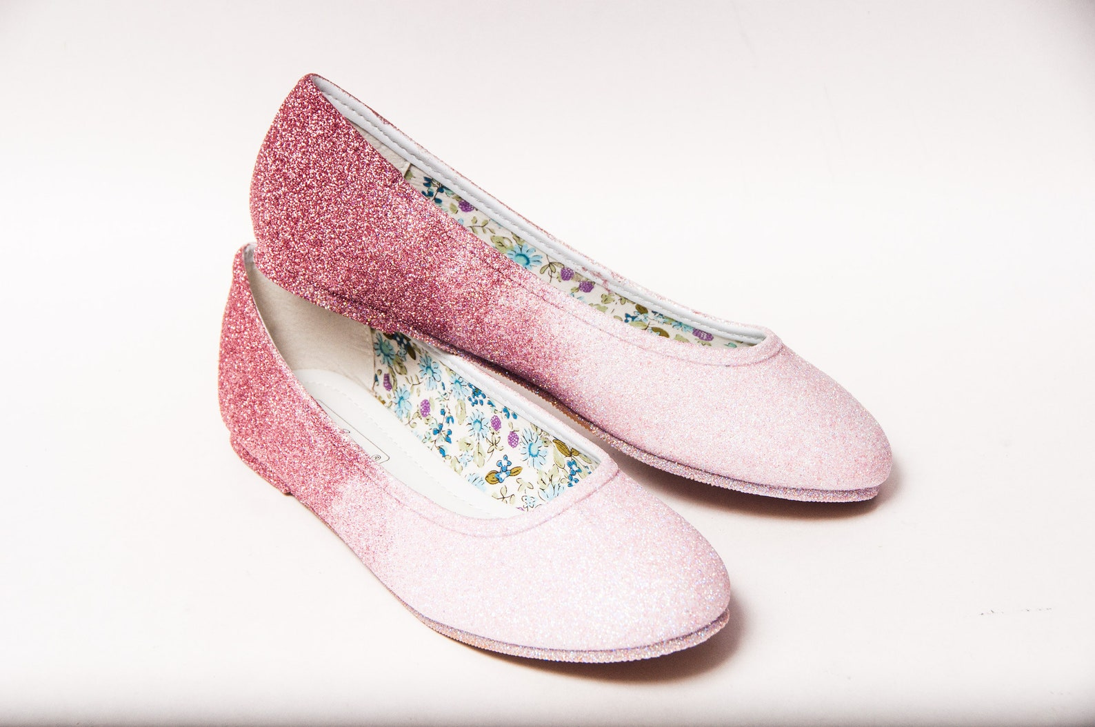 ready to ship - glitter ombre - size 7 carnation pink to light pink white ballet flats slippers shoes