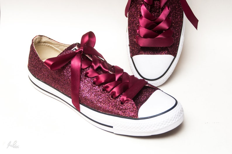 97a35f616dda Burgundy Red Glitter Converse® Low Top Sneakers Tennis Shoes
