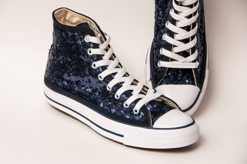 f13695c870c9 Navy Blue Starlight Sequin Converse® Hi Top Sneakers
